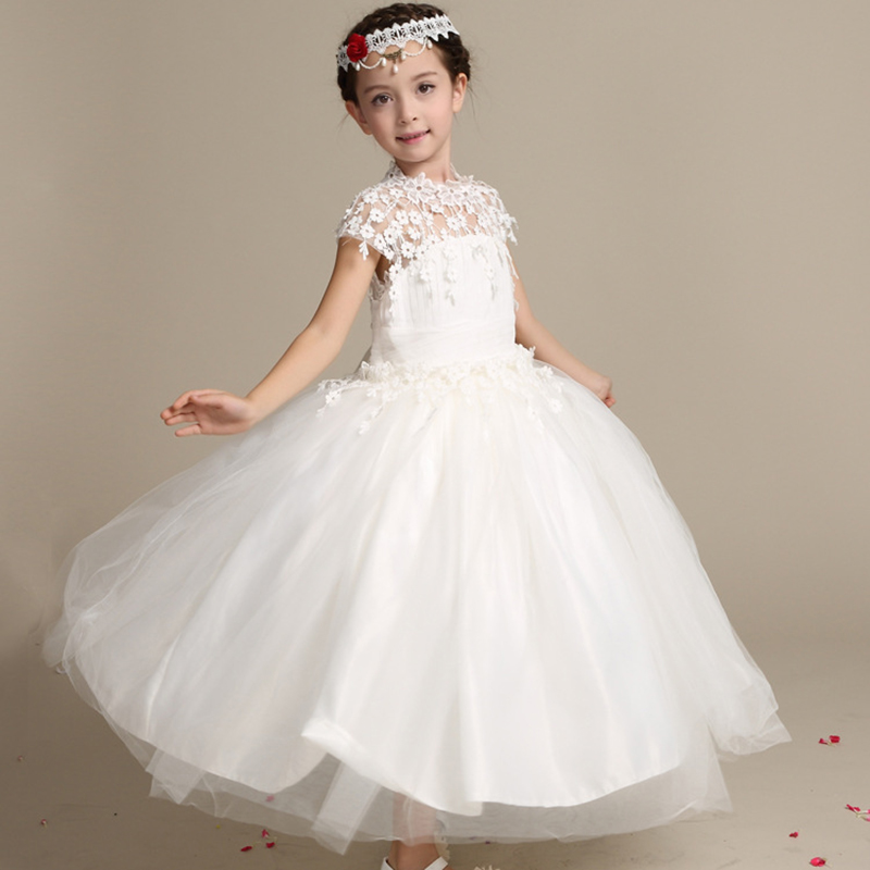 Buy girls elegant long lace wedding dress for Dresses for wedding for kids
