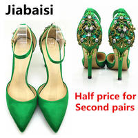 Jiabaisi Shoes Women Sandal Pointed Toe High Heel Strap Buckle Stiletto Heels Large Size Wedding Party