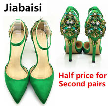 Jiabaisi shoes Women Sandal Pointed Toe High Heel strap buckle Stiletto Heels Large Size Wedding Party Evening Shoes