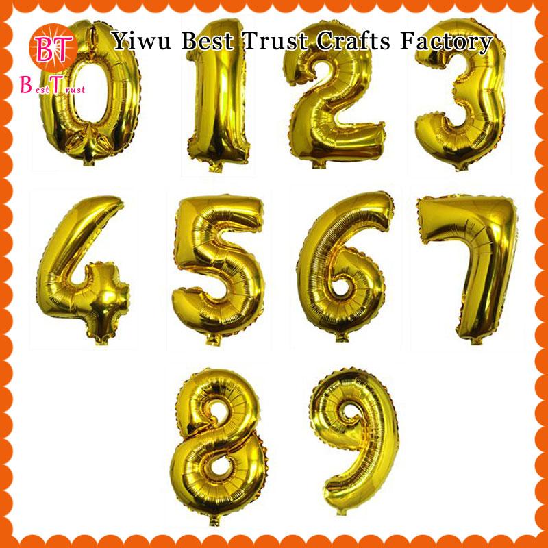 16 polegadas Folha Número Balões de Mylar Ouro Prata 1000 pcs para Festa de Casamento Decorações De Aniversário Crianças Números De Balão de Hélio