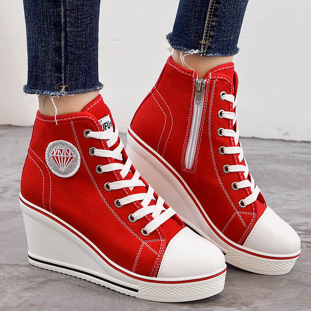 728e8cd9f1af Women s Shoes Hidden Wedge Heel Shoes 2018 Women Casual Shoes Canvas  Sneakers High Top Breathable Platform