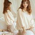Новое прибытие Осенняя Мода Повседневная Цветочные Брюки Твердые Топы Pijamas Установить Сладкий Принцесса Пижамы Шею Эластичный Пояс Дизайн