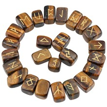 TUMBEELLUWA 1Lot (25Pc) Tigers Eye Stone Engraved Rune Stones Set Healing Reiki Crystal Tumbled