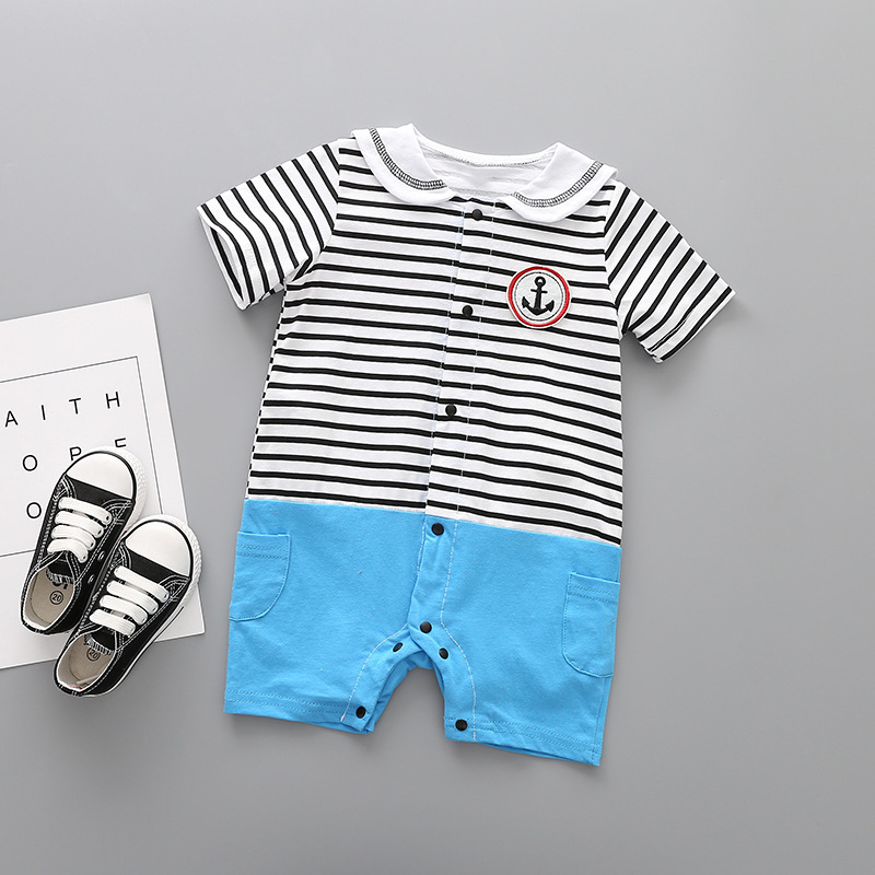 Baby clothing boy girl infant romper short sleeve 2018 summer lapel newborn Stripe cotton comfortable boxer climb clothes