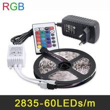 RGB LLEVÓ la Tira los 5 M 60 60leds/m 2835 SMD Luz Flexible de la Cinta Lámparas de Decoración De fiesta DC12V 2A Adaptador de Corriente + Mando a distancia IR