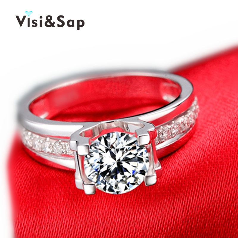 Vissap S925 Hollow Wedding Ring engagement cz diamond white gold plated jewelry for women zircon accessories bijouterie VSR066