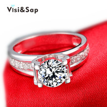 Visisap Hollow Wedding Rings engagement white gold color wholesale jewelry for women shinecubic zirconia VSR066