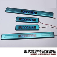 Auto parts Stainless Steel LED Side Door Sill Cover / Scuff Plate Trim 4Pcs/Set fit for Hyundai Accent 2006 2013 Car styling