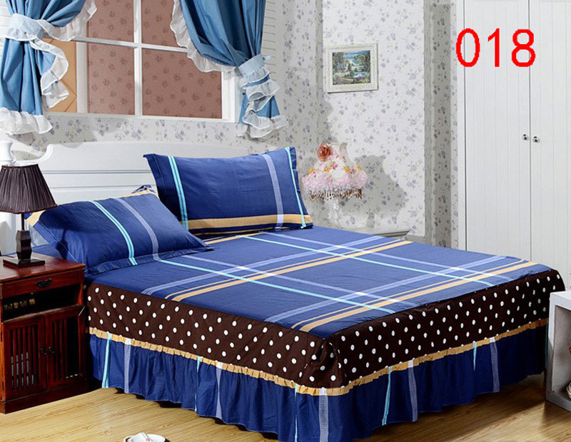 blue gray yellow 1 cotton bed skirt mattress protective cover petticoat twin full queen bed. Black Bedroom Furniture Sets. Home Design Ideas