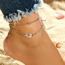 цена на Fresh Little Dolphins Ankle Silver Beads Anklet Bohemian Dolphin Charm Anklet Elegant Layered Beads Chain Ankle Bracelet Feet