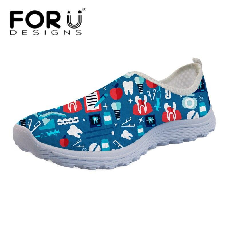 FORUDESIGNS Mesh-Sneakers Light Water-Shoes Walking-Flats Slip-On Fashion Cartoon Women