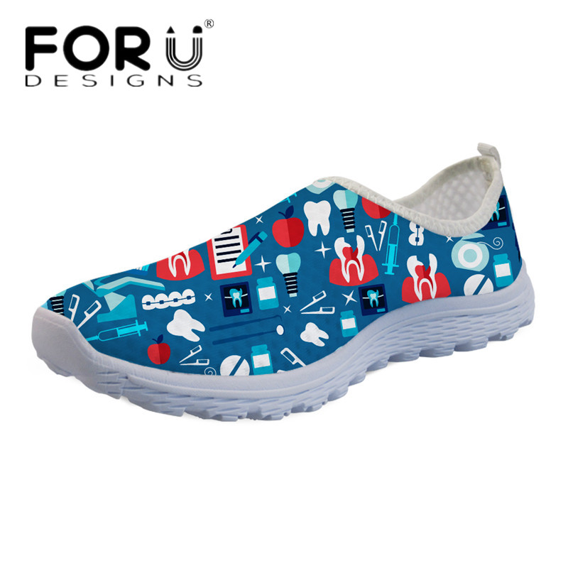 FORUDESIGNS Fashion Women Beach Water Shoes Cute Cartoon 3D Dentist Print Light Mesh Sneakers Girls Slip-on Summer Walking Flats instantarts cute cat puzzle casual air mesh flat shoes women teen girl summer breathable slip on walking sneakers adult zapato