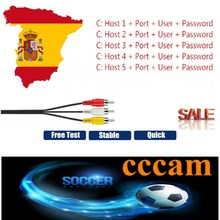 1 год Европа 5 линий Cccam Поделиться Сервер для испанско-португальский канала Поддержка DVB-S2 спутниковый ресивер для Freesat V7 HD V8 V9