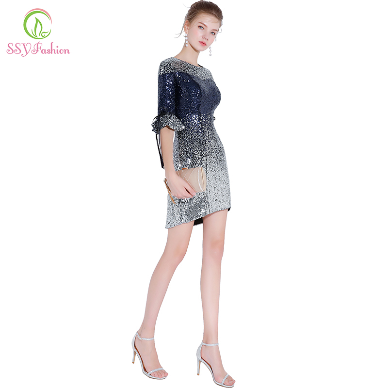 SSYFashion New Luxury Banquet Sequined Cocktail Dresses Sexy Slim Gradient Silver Blue Mini Party Gown Custom