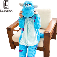 Adultes Flanelle Onesie Animal de Bande Dessinée Sulley/Bleu Vache Pyjamas Cosplay Halloween Party Costume Pyjamas de vêtements de Nuit Pour Hommes Femmes