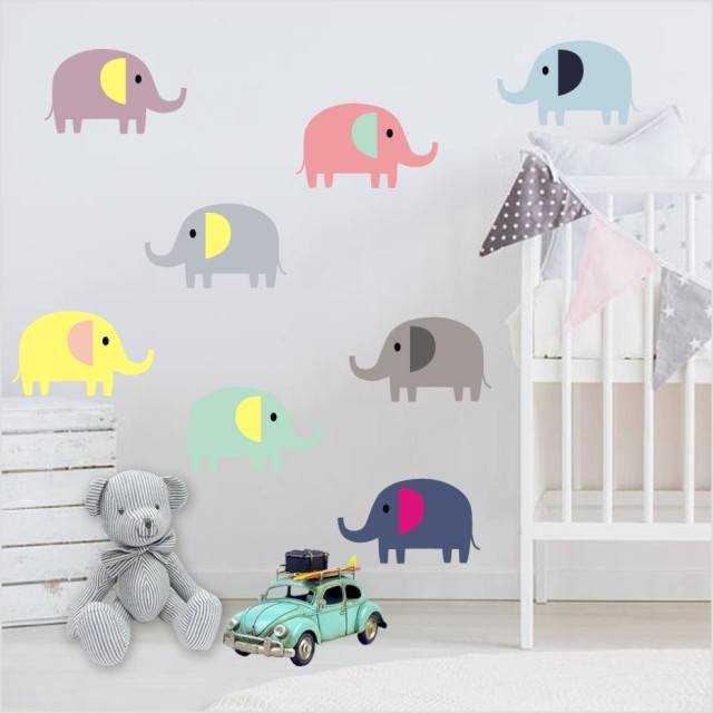 Simple Cartoon Cute Elephant DIY Color Wall Sticker For Baby Bedroom Art Lovely Animals Decals