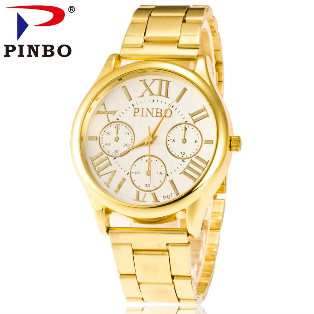 Moda PINBO Brand aur 3 ochi casual cuarț ceas bărbați din oțel - Ceasuri bărbați
