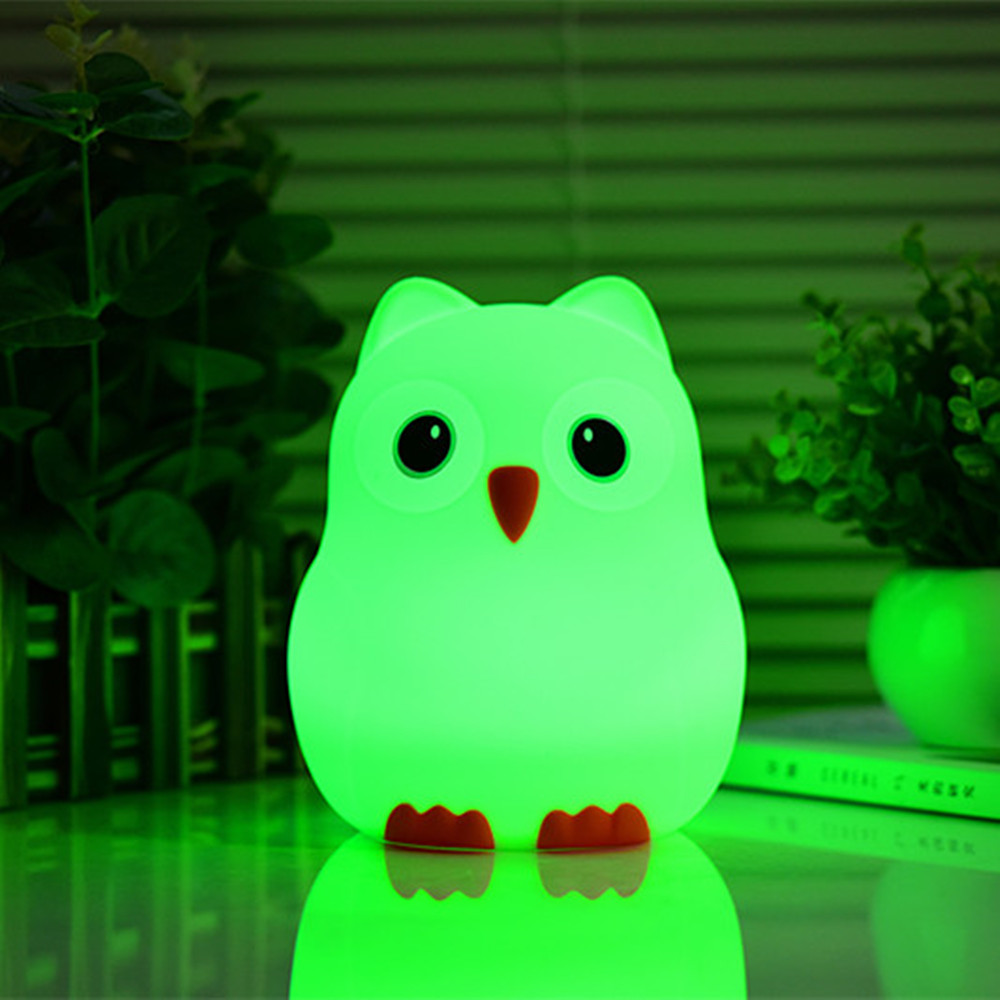 Cartoon Bird LED Night Light Touch Sensor 9 Colors USB Battery Powered Silicone Bedroom Bedside Lamp for Children Kids Baby Gift