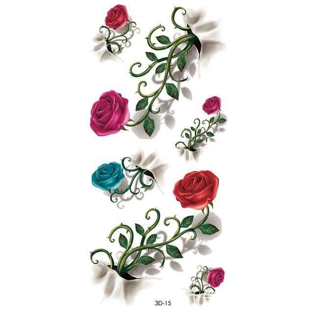 1f365767f1e4c 4Pcs Temporary Tattoo Body Art Vintage 3D Tattoo Waterproof Sticker Decal  Waterproof Tattoo Rose Flower Pattern Flash Tattoo