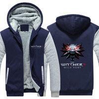 Trò Chơi mùa đông The Witcher 3 Hoang Dã Hunt Wolf Head In Hoodies Siêu Ấm Zip người đàn ông Áo Khoác Nỉ cộng với CM429