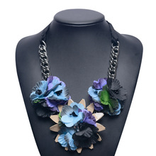 Big Vintage Resin Cloth Flower Pendant Necklace Chain For Women Costume Jewelry Bib Collar Necklace Wholesale Jewelry