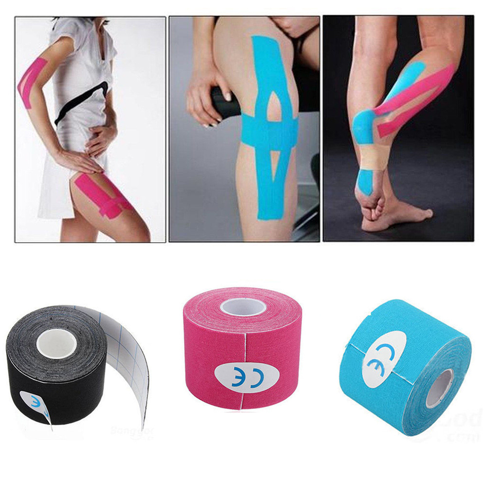 5cm*5m Athletic Tape Adhesive Elastic Bandage Teip Muscle Protector Scissor Sport Recovery Gym Fitness 2.5cm*5m Kinesiology Tape