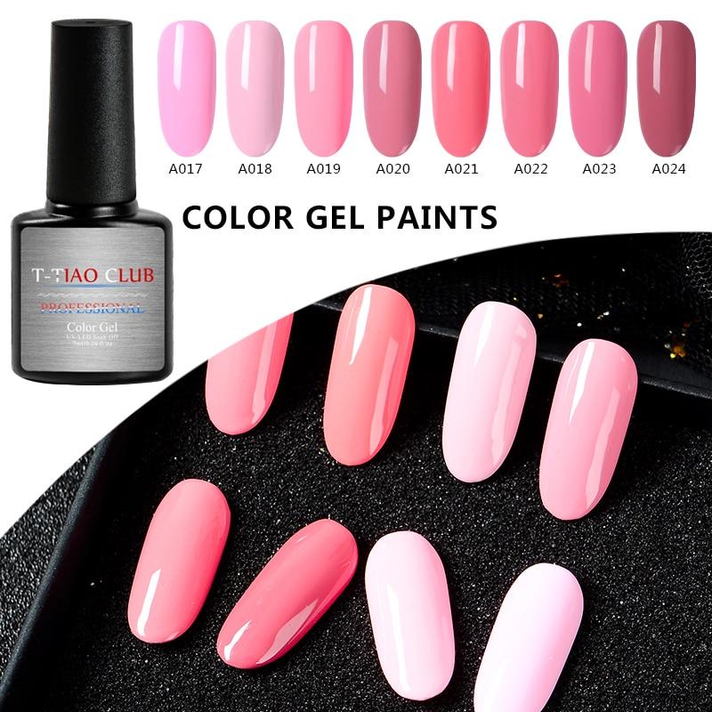 T TIAO CLUB 7ml Pink Series Gel Nail Gel Polish 8 Colors Soak Off Gel Polish UV Gel Nail Polish Lacquer Varnish Nail Art Tips in Nail Gel from Beauty Health