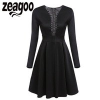 Zeagoo Sexy Lace Up Dress Fashion V Neck Long Sleeve Print Cocktail Party Skater Dress Autumn