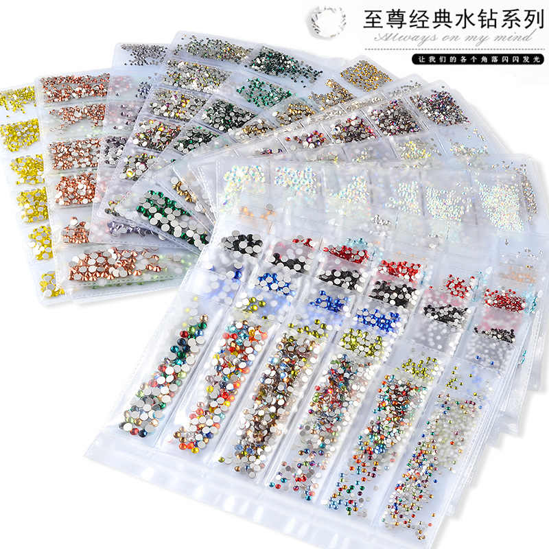 > 1200 Pcs/pack Glitter Campuran Warna-warni Ukuran SS4-SS16 Datar Kaca Belakang Berlian Kristal Paku Seni Berlian Imitasi Permata Perhiasan DIY Makeup