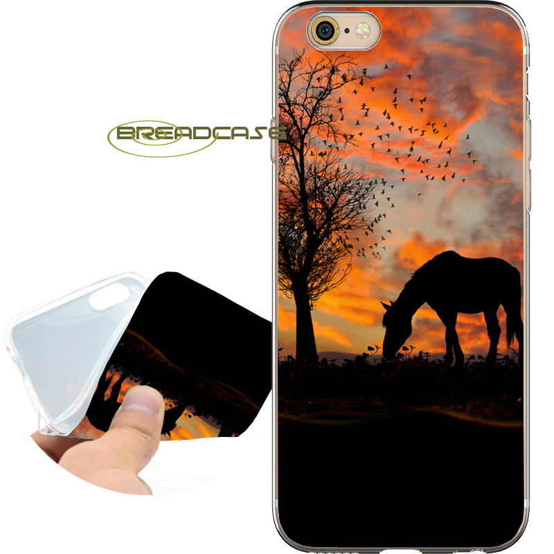 Coque Sunset Tree Horse Phone Cases for iPhone 10 X 8 7 6S 6 Plus 5S SE 5 5C 4S 4 iPod Touch 6 5 Soft Clear TPU Silicone Cover.