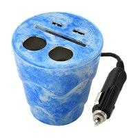 Uchwyt na kubek podwójna ładowarka samochodowa USB do telefonów komórkowych przeciągnij dwa gniazda zapalniczki błękitny