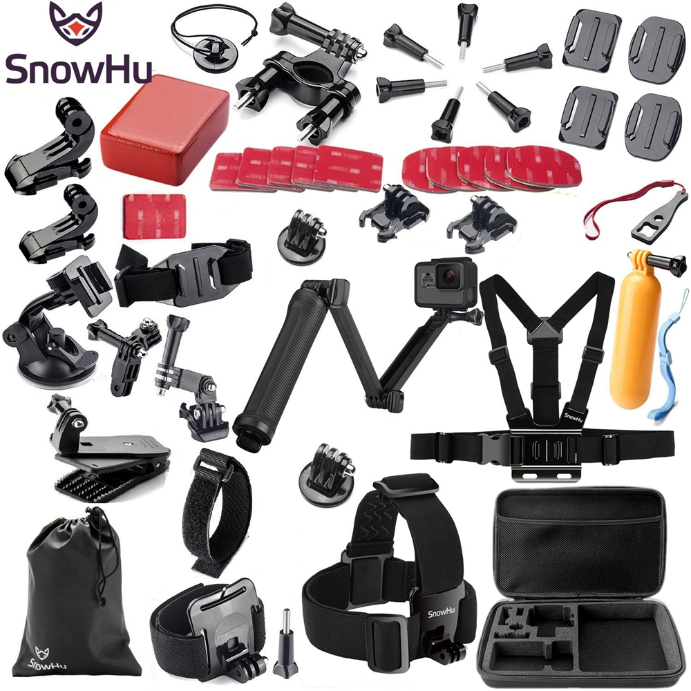 SnowHu for Gopro Accessories set for go pro hero 8 7 6 5 4 3 kit 3 way selfie stick for Eken h8r / for xiaomi for yi 4K EVA GS02