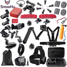 цена на Gopro Accessories Set Helmet Harness Chest Belt Head Mount Strap Monopod For Go pro Hero 4 3+2 xiaomi yi action camera GS02
