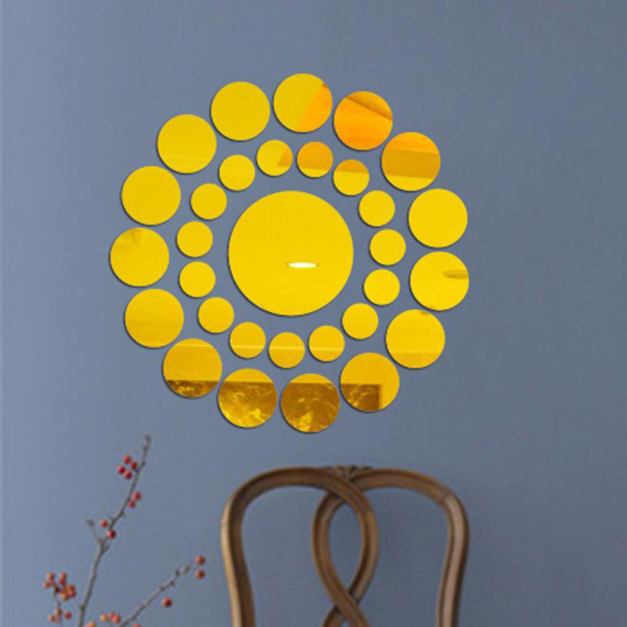 ISHOWTIENDA 31Pcs DIY Acrylic Art Sticker Cute Silver DIY Circle ...