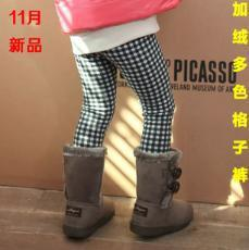 High quality cashmere and cashmere thermal girls bamboo charcoal's lattice Leggings 100-140 code 5pcs/lot free shipping