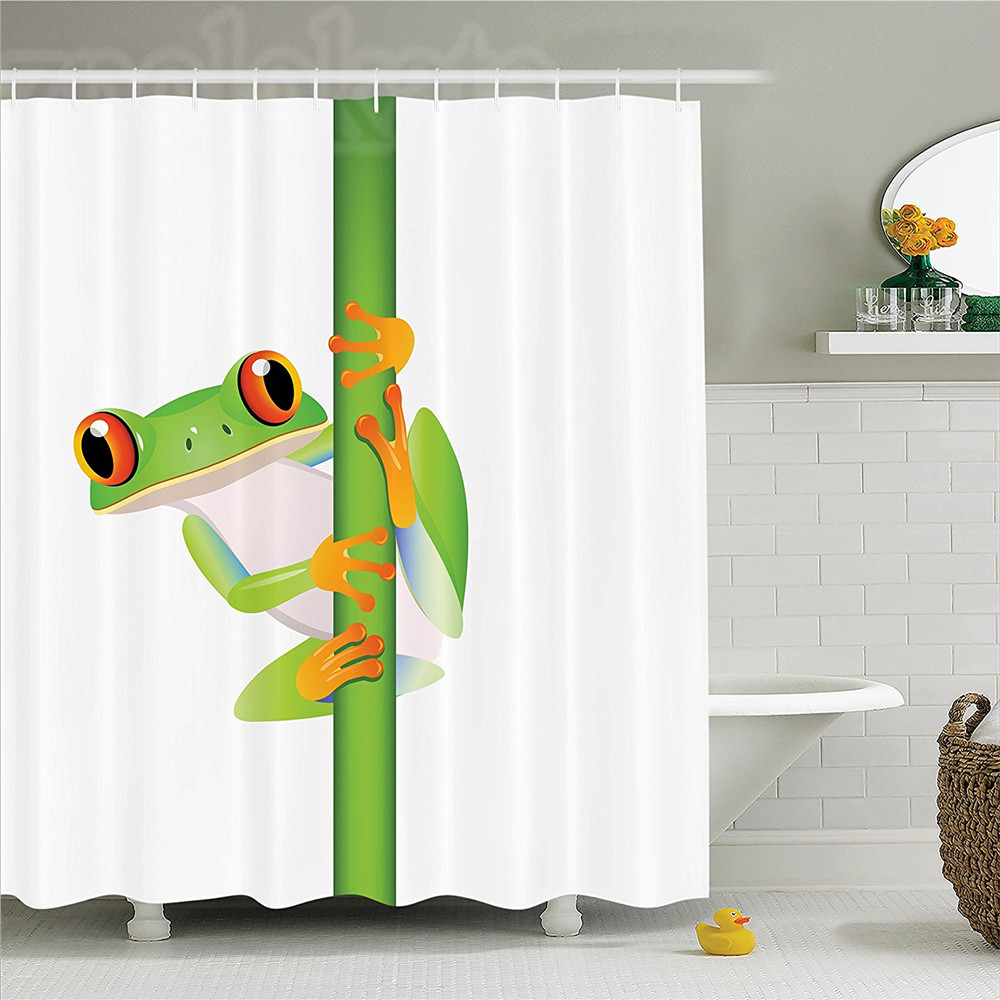 Animal Graphic Of Cute Frog Holding A Branch Rainforest Character In Wild Nature Life Polyester Bathroom Shower Curtain Set