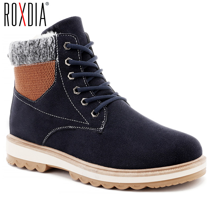 ROXDIA winter snow men boots fashion casual man shoes with fur lace up ankle boots leather male warm sneakers size 39-44 RXM097 roxdia men boots man shoes genuine leather ankle winter snow warm short plush lace up black blue plus size 39 46 rxm1001