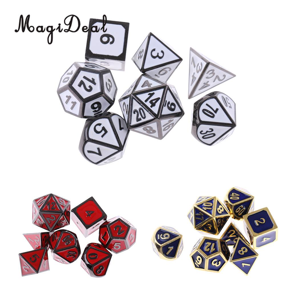 MagiDeal High Quality Alloy Dice Set D4 D6 D8 D10 D12 D20 Polyhedral for Dungeons and Dragons MTG Club Bar Acce dungeons
