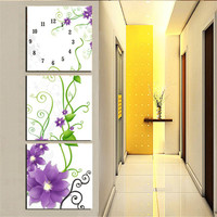 Diamond Embroidery Painting Flower Clock Diamond Mosaic Paint for Living Room Home Decoration Picture 3PCS