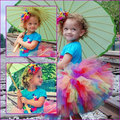 Tutus Lillix Denise  Rainbow Tutu Great for Birthdays Photography Prop and Dance kids Hallowmas casual candy color skirt  PT183