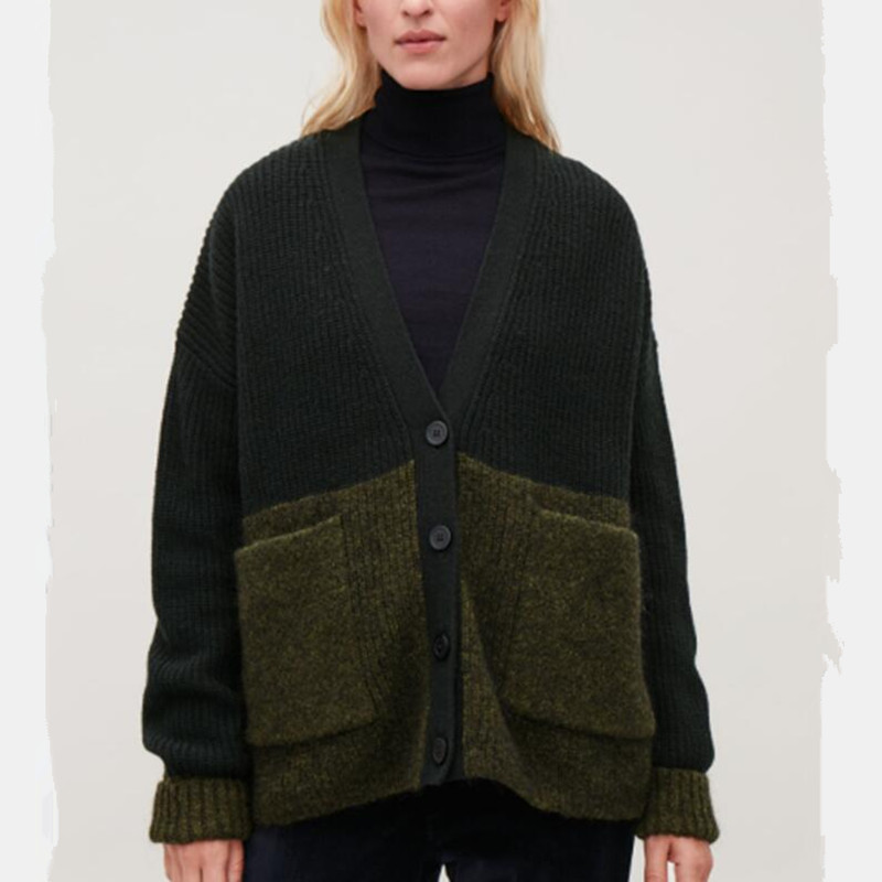 Women Loose Green Wool And Mohair Vintage Cardigan Sweater Autumn Winter Long Sleeve V Neck Double