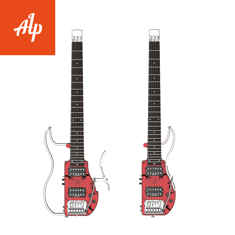 ALP Headless Travel Electric Guitar double humbuckers ADS-361HCL Ebony finger board portable guitar with built in guitar effect