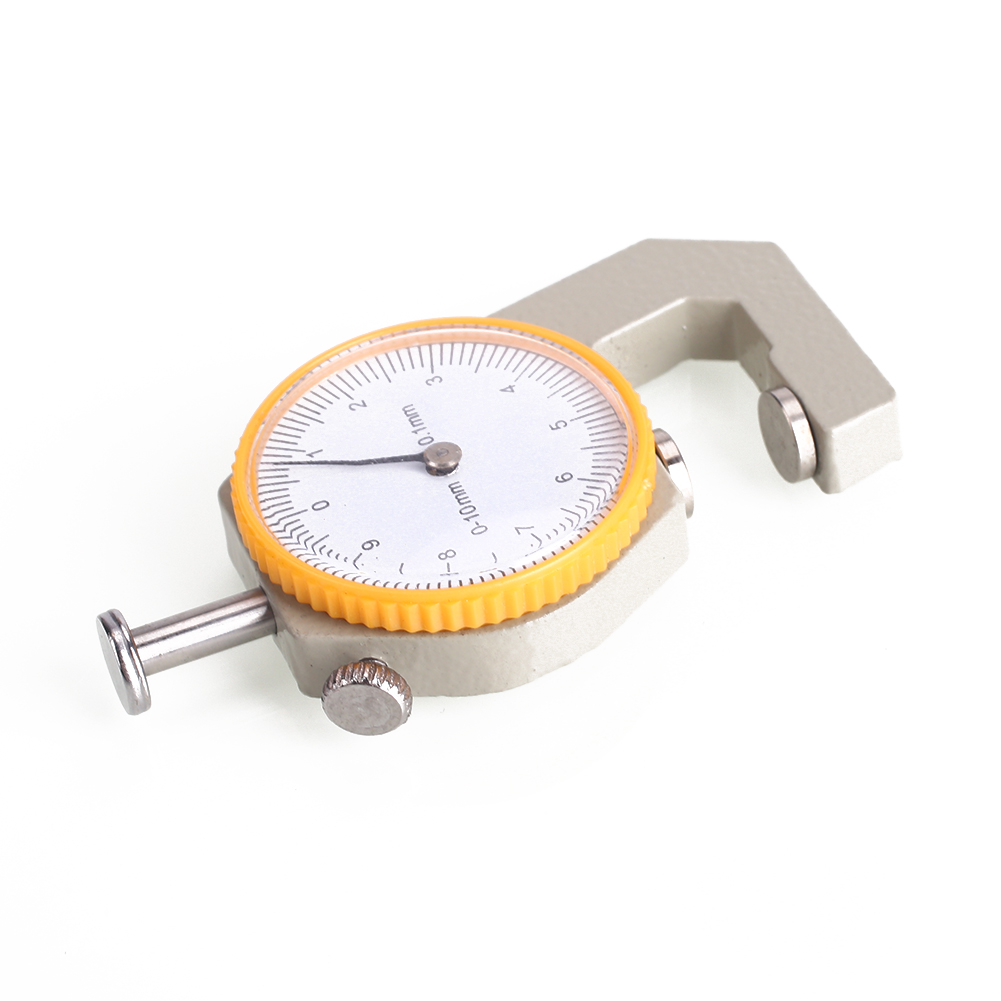Серебристо-желтый металл кожа толщина метр ширина измерения толщиномер прочный циферблат тестер микрометр