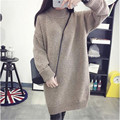 2017 Women Sweater Women Fashion Khaki Wine Loose Solid Spring And Winter Knitted Warm Turtleneck Pullover Women Sweater YY469
