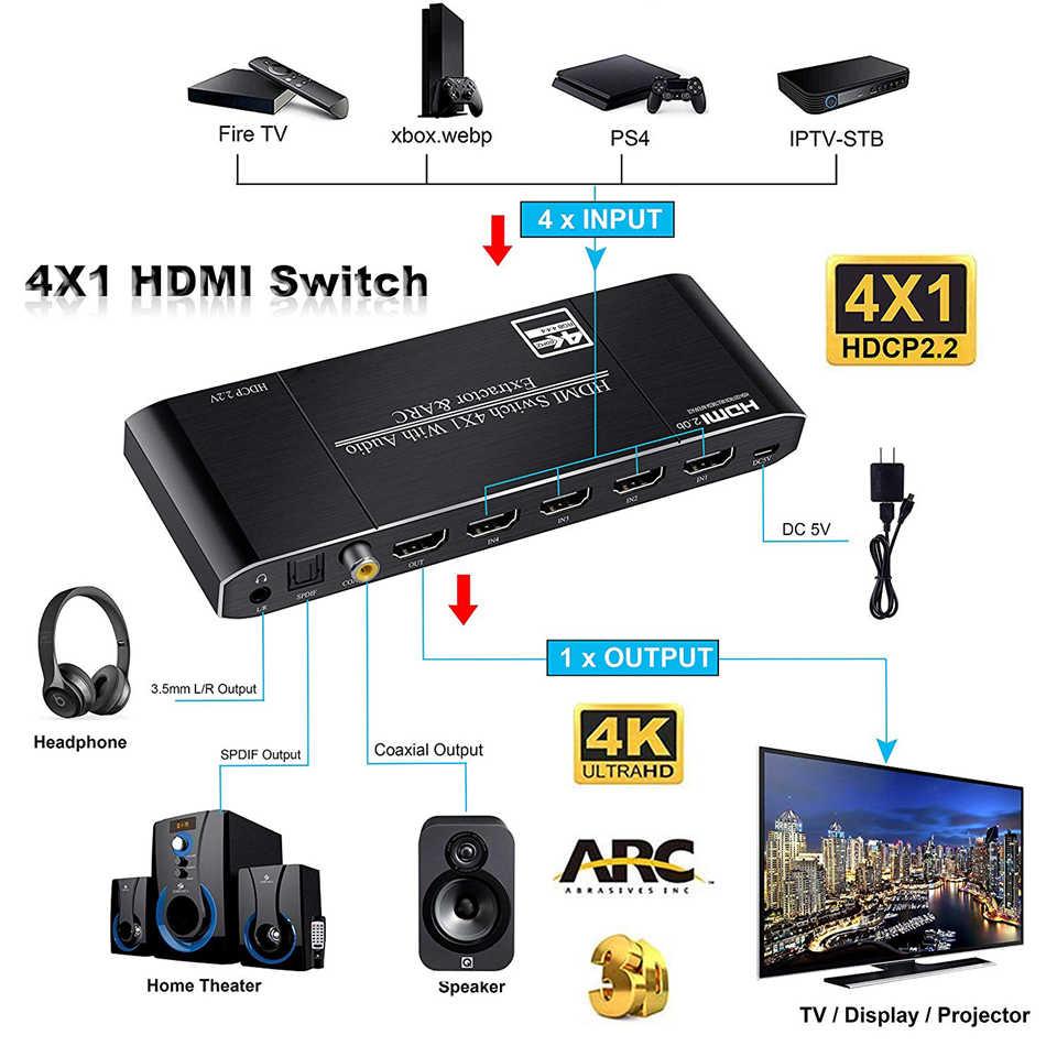2019 أفضل 4K HDMI 2.0 التبديل عن بعد 4x1 HDR HDMI الجلاد مستخرج الصوت مع قوس و IR التبديل HDMI 2.0 ل PS4 آبل HDTV