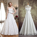 TOPQUEEN Long Wedding dresses Bridal Gown Lace Wedding Dress white and ivory cheap