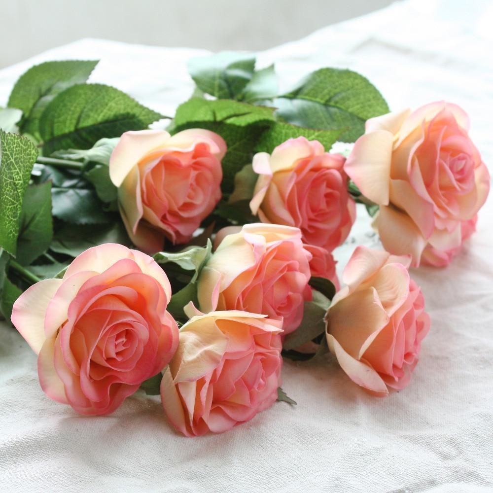12 pcs/lot Fleurs Artificielles Latex Real Touch Rose Fleurs Bouquet De Mariage Accueil Parti Faux Fleurs Décor Rose Partie Fournitures