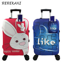 Cartoon Rabbit Travel Suitcase Elastic Protective Luggage Cover, Baggage Dust Cover With Pocket,19-32 Inch Trolley Case Covers(China)