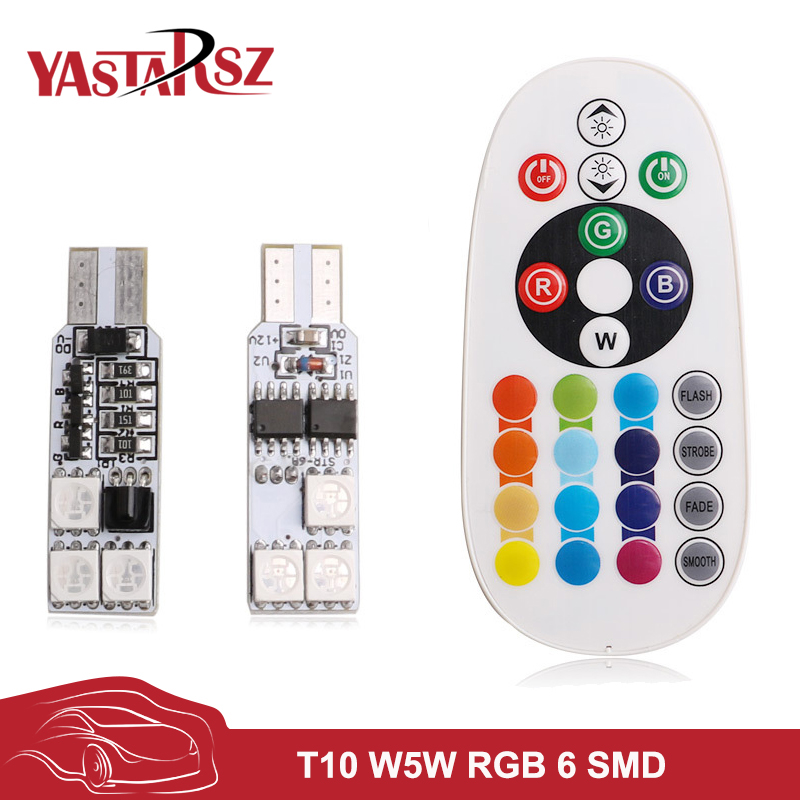 2x 5050 SMD RGB T10 194 168 W5W Car Reading Wedge Light Lamp 12 LED 16 Colors LED Bulb With Remote Controller Flash/Strobe 10pcs t10 led bulb 5 smd 5050 led t10 w5w 194 168 car light source lamp t10 5 led dash indicator signal side wedge tail light