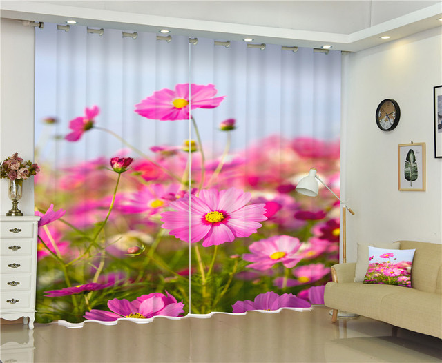 Sun flowers Flowers Print 3D Curtains Drapes for Living room Bed ...